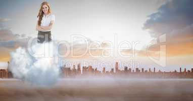 Digitally generated image of businesswoman on cloud against city