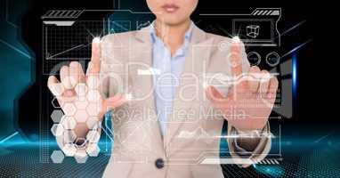 Digitally generated image of businesswoman touching futuristic screen