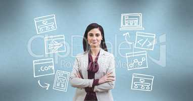 Digitally generated image of businesswoman amidst various icons against turquoise background