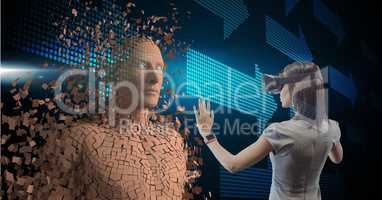 Businesswoman wearing VR glasses while touching 3d human on screen