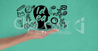 Cropped image of hand holding face amidst various icons on green background