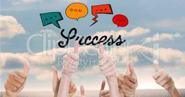 Success text with speech bubbles over thumbs up gestures