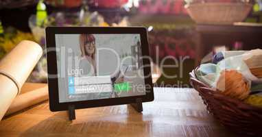 Close-up of digital tablet with login screen