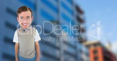 Nerd businessman standing against building