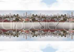 up side down city. mirror effect, with iron between two citys