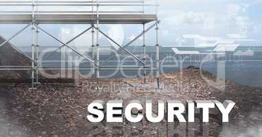 Security Text with 3D Scaffolding and sea landscape