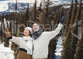 mountain travel,couple in the snow