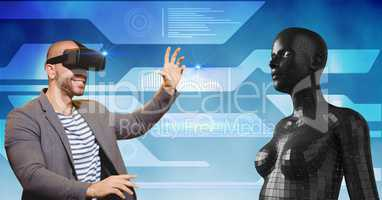 Happy man looking at 3d female figure through VR glasses
