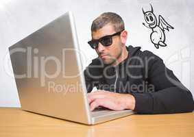 Criminal on laptop with devil icon floating alongside