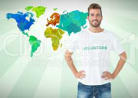 Volunteer in front of Colorful Map