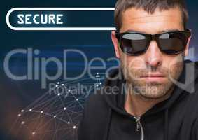 Secure text with cool man in sunglasses