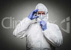 Man With Intense Expression Wearing HAZMAT Protective Clothing A