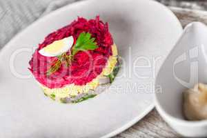 Salad with beet and herring