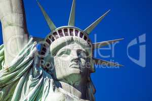 Detail of the statue of liberty in New York