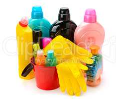 set of household chemicals isolated on white background