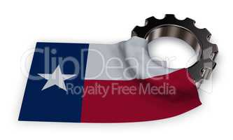 gear wheel and flag of texas - 3d rendering