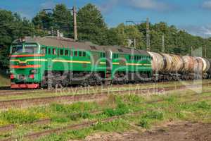 Green freight train