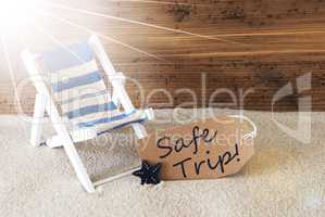 Summer Sunny Label And Text Safe Trip