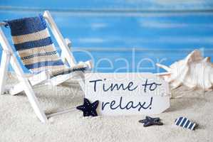 Summer Label With Deck Chair And Text Time To Relax
