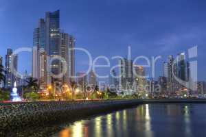 Panama City skyline and Bay of Panama, Central America in the tw