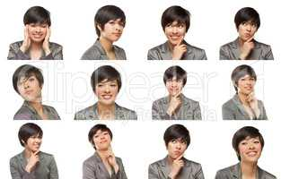 Set of Attractive Mixed Race Young Adult Female with a Variety o