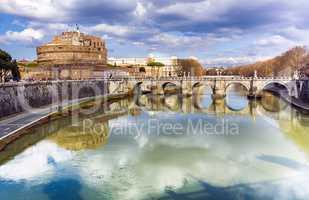 Castel Sant Angelo in Rome viewed from Vittorio Emanuele Bridge