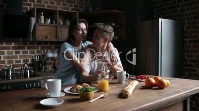 Couple bonding and enjoying leisure in the morning
