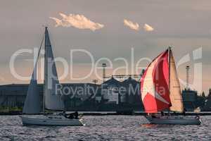 Sailboat regatta on Daugava river