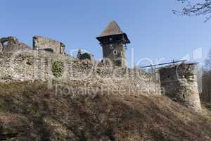 Ruins of Castle Nevytske near of Transcarpathian region center, Uzhgorod photo. Nevitsky Castle ruins built in 13th century. Ukraine.