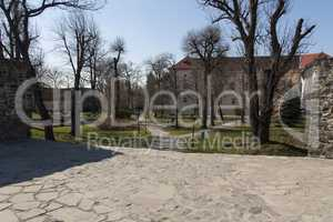 Residence of the nobility of the Middle Ages and the outer court photo of the medieval castle of Uzhhorod, Ungvar, in Ukraine
