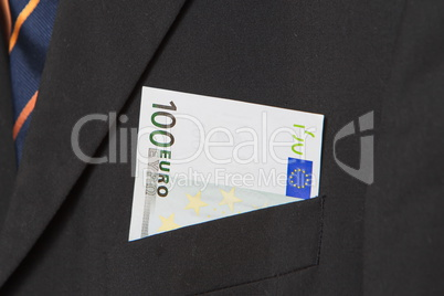 Euros in the pocket of a suit
