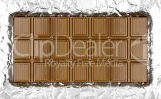 Chocolate bar on aluminum foil
