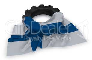 gear wheel and flag of finland - 3d rendering