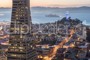 Dusk over Telegraph Hill, Alcatraz Island and San Francisco Bay from the Financial District.