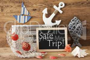 Chalkboard With Summer Decoration, Text Safe Trip