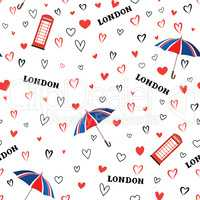 Travel London city seamless pattern with love hearts and umbrell