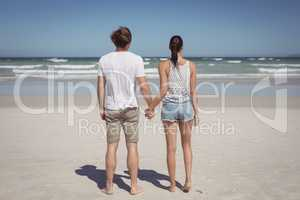 Rear view of young couple holding hands at beach