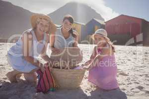 Portrait of multi-generation family by picnic basket at beach