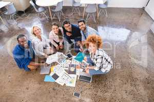 High angle portrait of happy business team working together