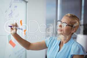 Attentive executive writing on whiteboard