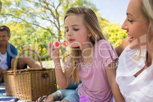 Mother and daughter blowing bubble with bubble wand at picnic in park