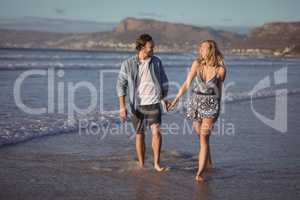 Happy couple holding hands on shore