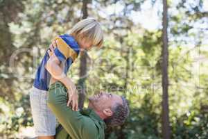 Playful father lifting up son in forest