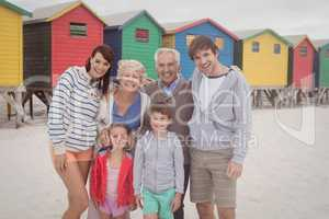 Portrait of multi-generation family at beach