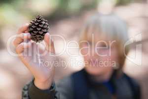 Boy holding pine cone in forest