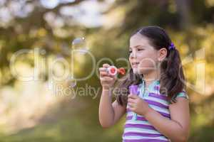 Little girl playing with bubble wand on sunny day