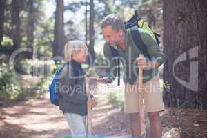 Father showing pine cone to son while hiking in forest