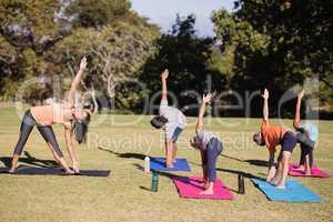 Instructor teaching kids Trikonasana on mat