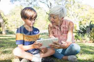 Grandmother and grandson using digital tablet in the park