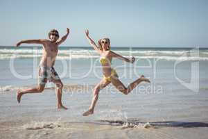 Cheerful couple jumping on shore at beach
